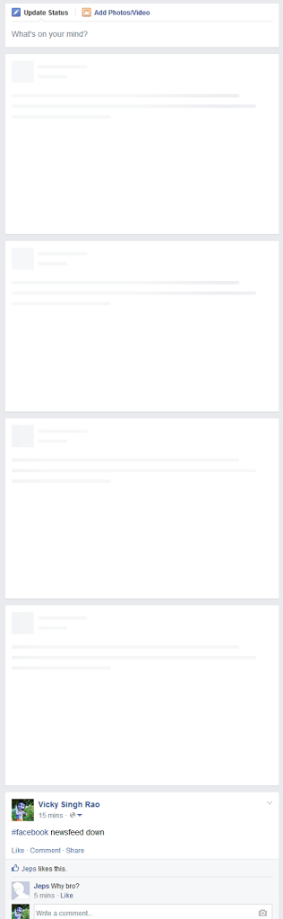 Facebook newsfeed down