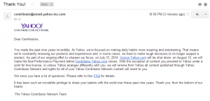Yahoo to shut down yahoo contributor network